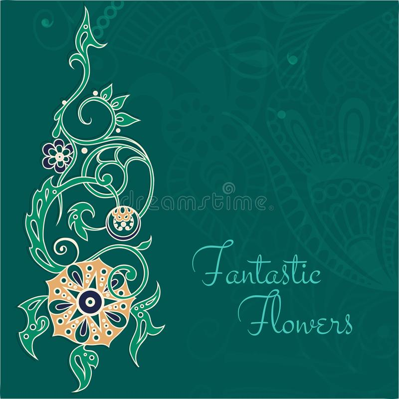 Fantastic flowers in green background. vector illustration