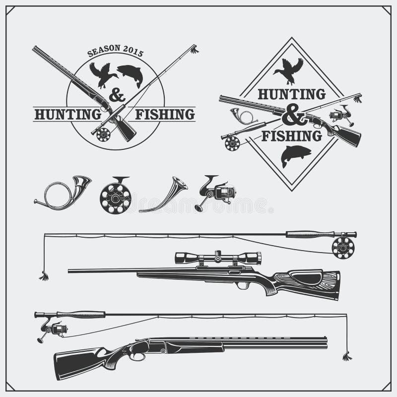 Vector Elemente für Weinlesejagd- und -fischenverein Aufkleber, Embleme und Gestaltungselemente Gewehre, Stangen und Jagdhörner lizenzfreie abbildung