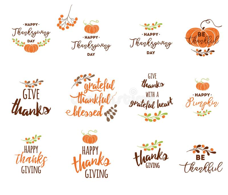 Vector elementos da rotulação da ação de graças para convites ou cartões festivos ilustração do vetor