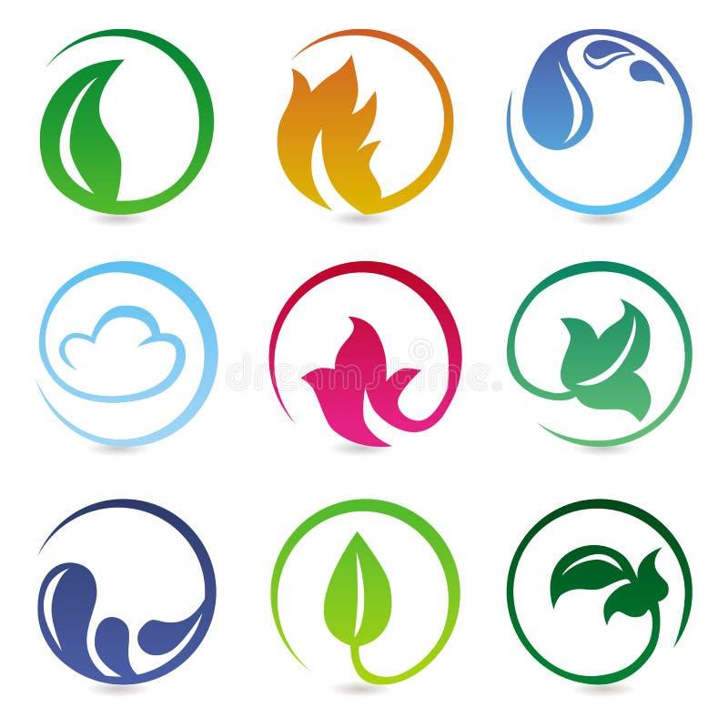 Vector elementos do projeto com sinais da natureza ilustração stock