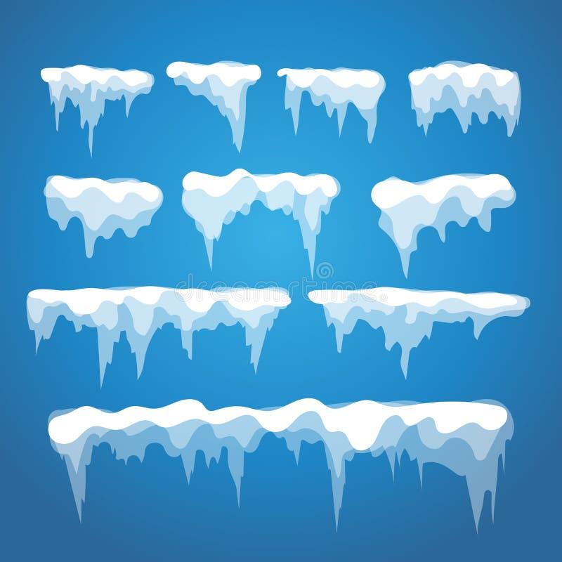 Vector elementos do sincelo e da neve no fundo azul ilustração royalty free