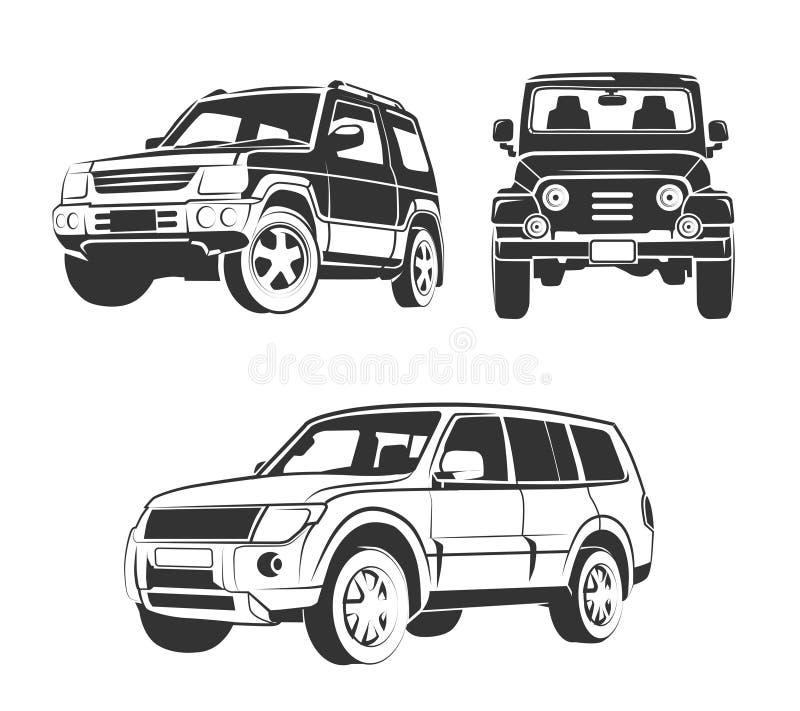 Vector elementos para o carro fora de estrada do suv simboliza, etiquetas e crachás ilustração royalty free