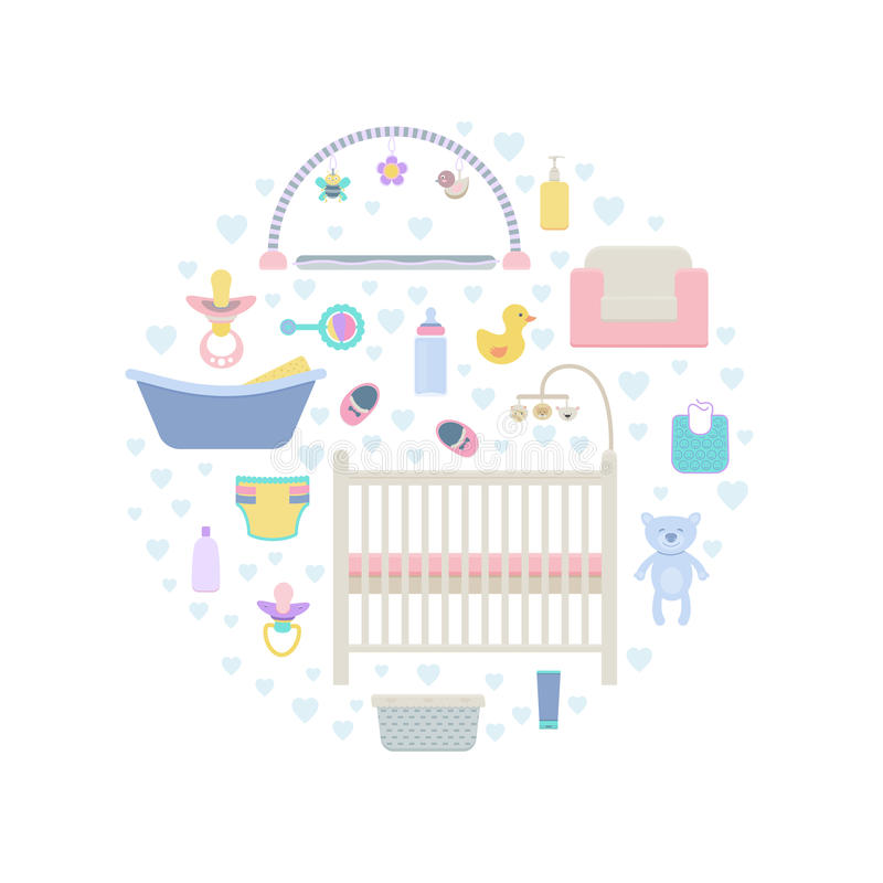 Vector elements for baby set royalty free illustration