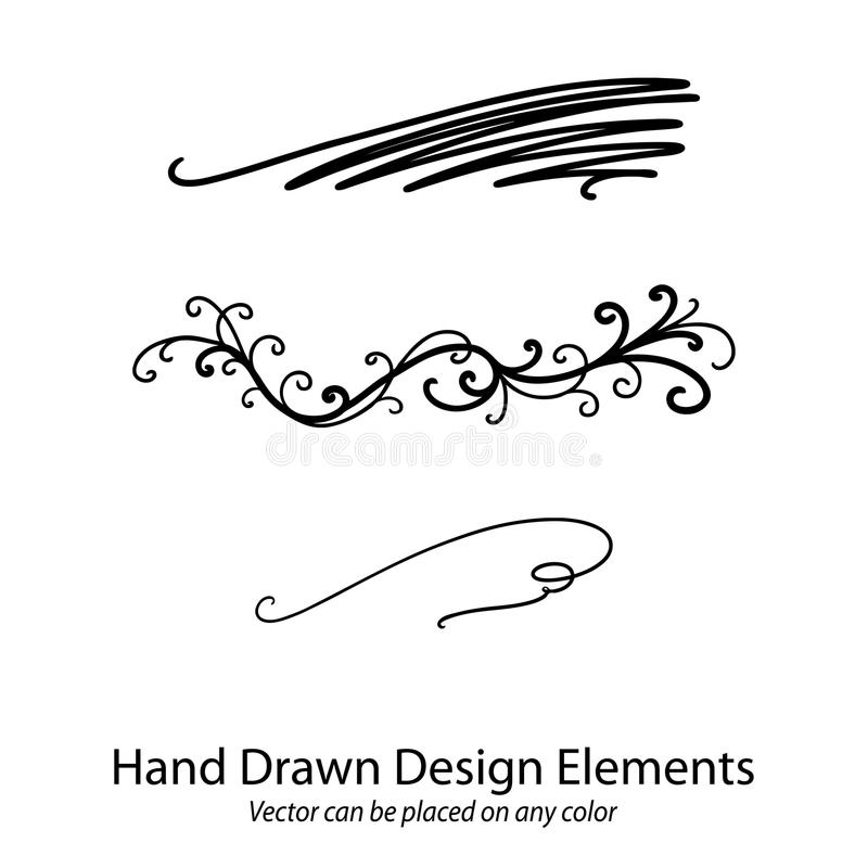Vector elements in calligraphy style paragraph dividers or