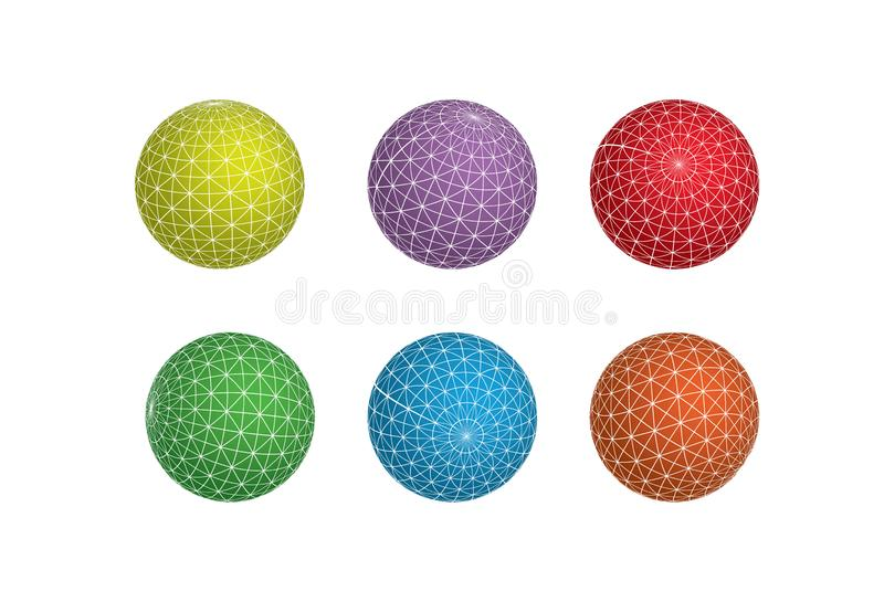 Set of 6 colorful vector spheres globes lineart abstract polygonal design elements. These vector elements can be used as web design elements royalty free illustration