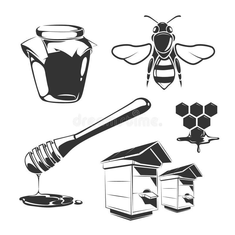 Vector elements for honey vintage labels royalty free illustration