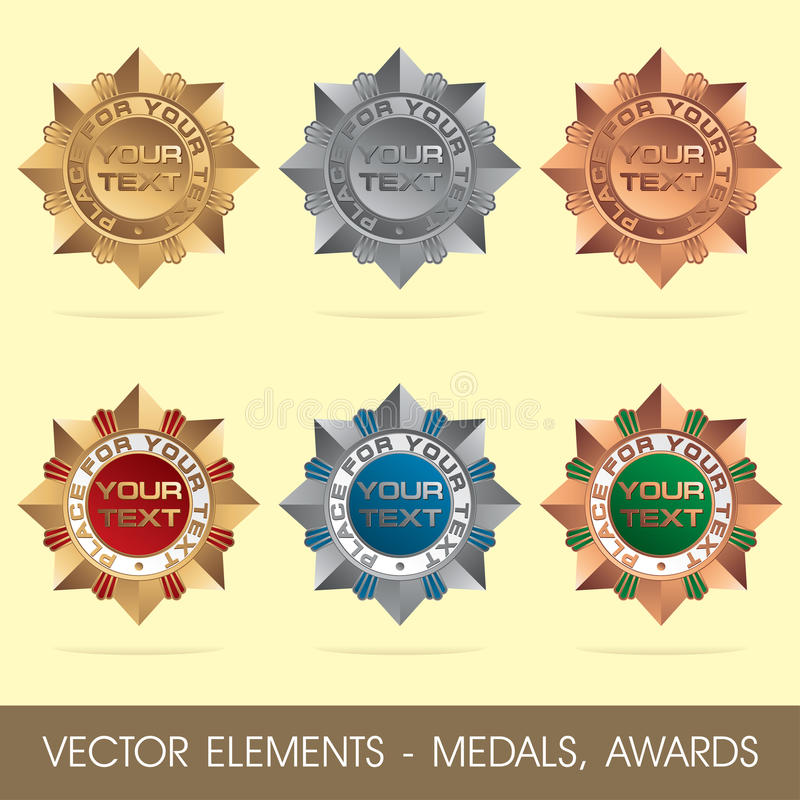 Vector elements - medals, awards royalty free illustration
