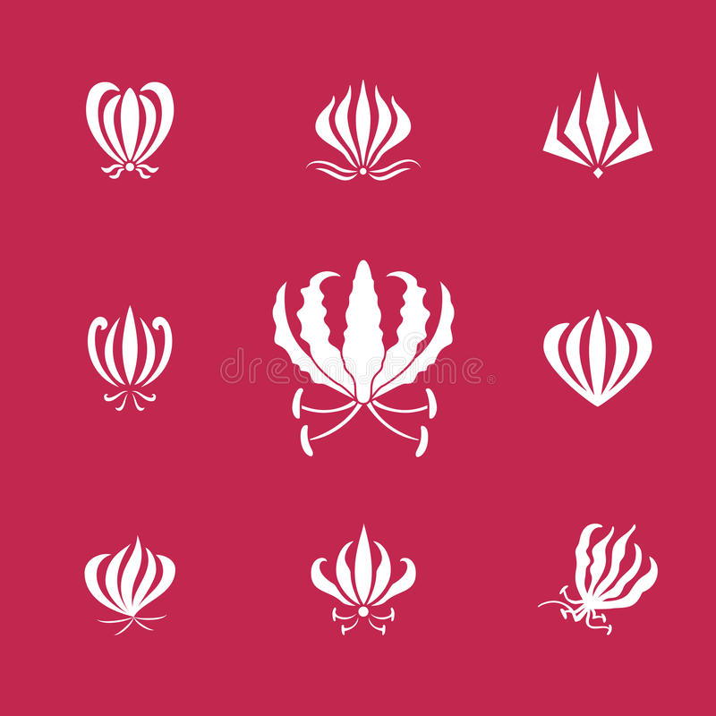 Vector elements silhouettes of gloriosa or flame lily flower royalty free illustration