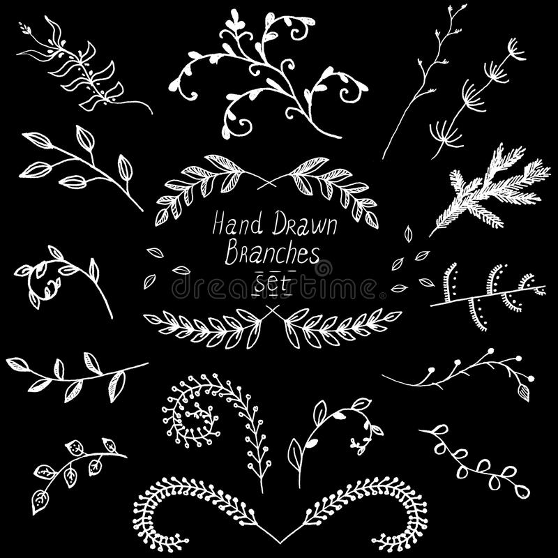 Vector elements, twigs drawn ink stock illustration