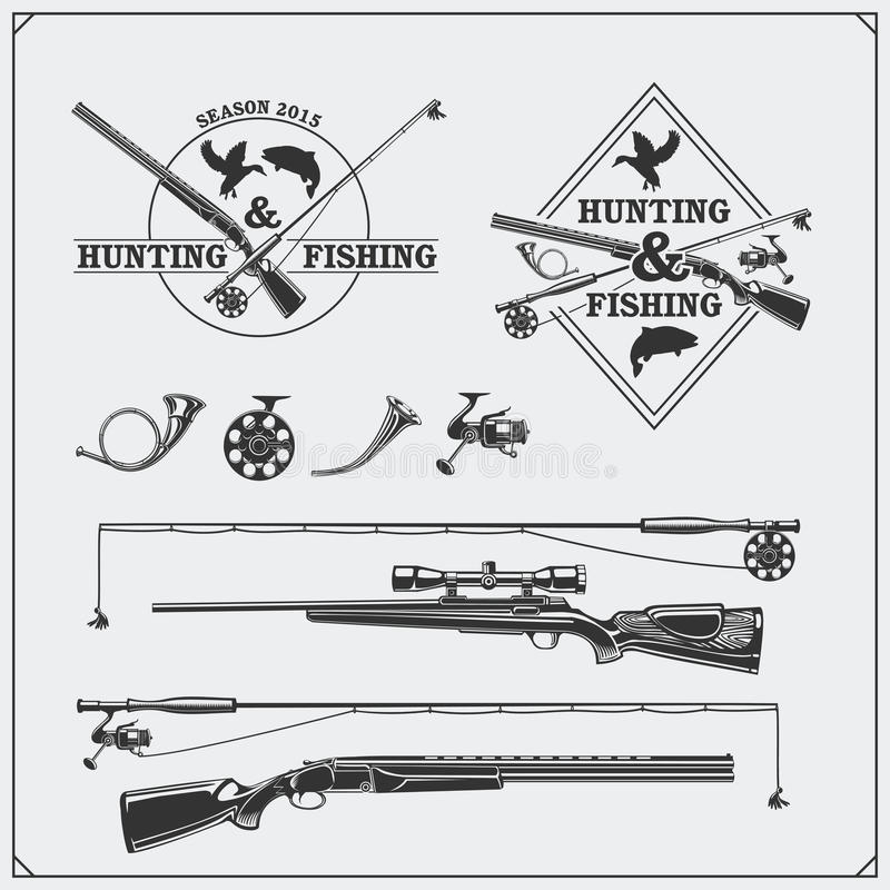 Vector elements for vintage hunting and fishing club. Labels, emblems and design elements. Guns, rods and hunting horns. royalty free illustration