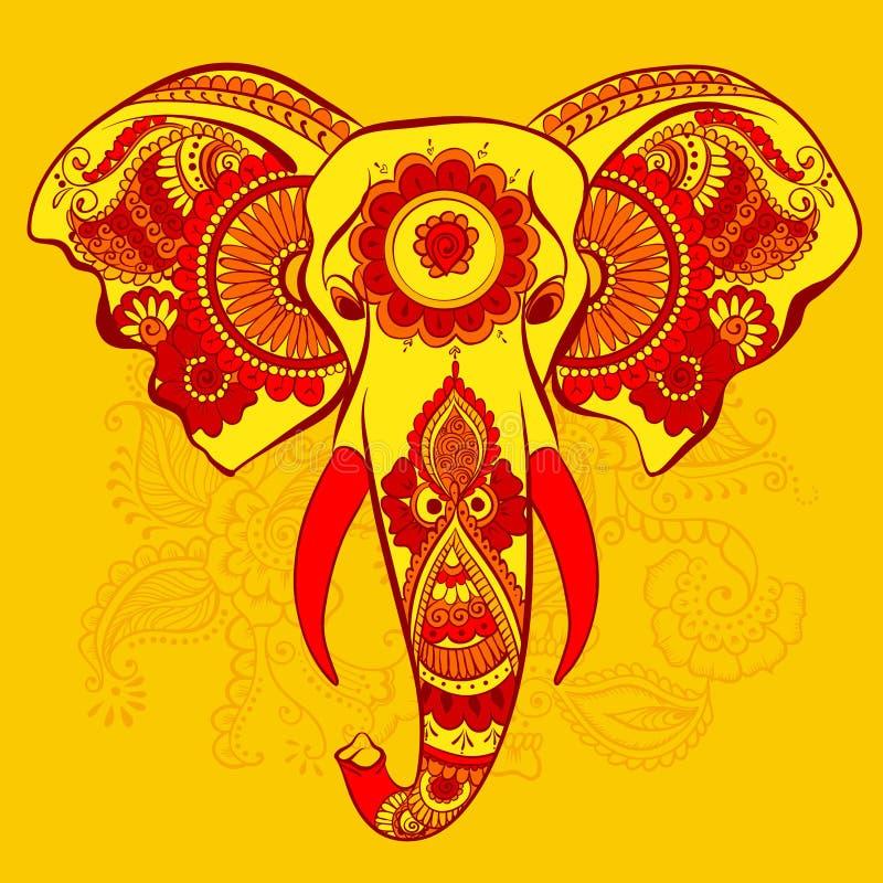 Vector Elephant on the Henna Indian Ornament stock photo