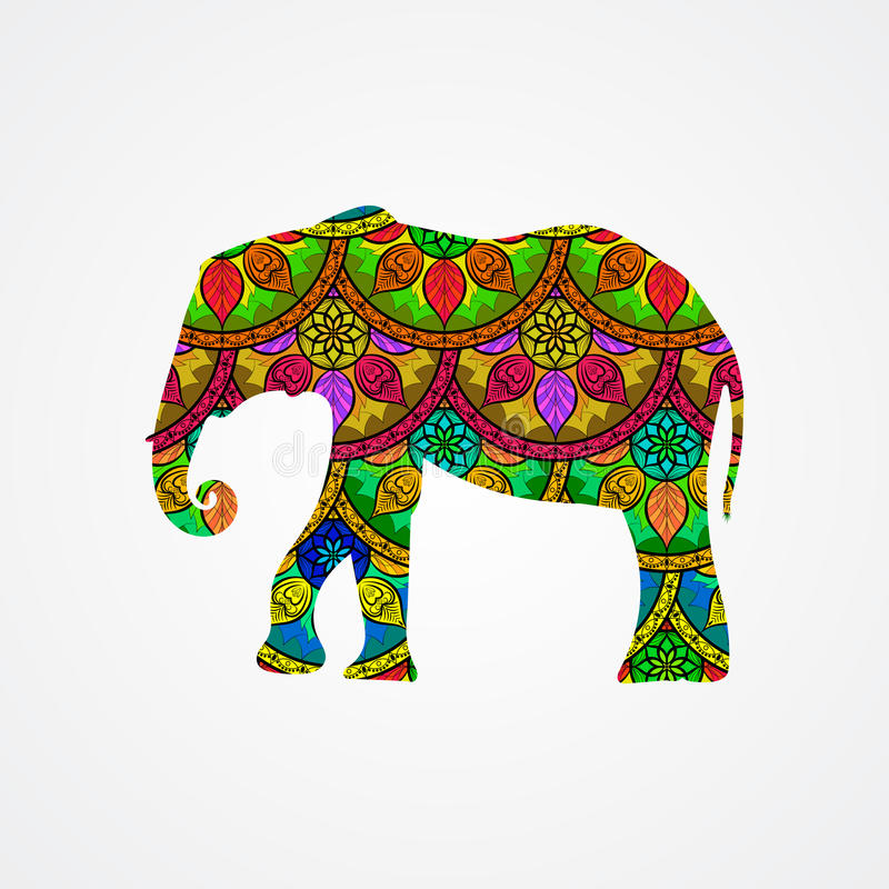 Vector Elephant with Mandala Patterns stock illustration