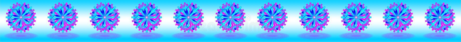Vector blue purple Christmas stars with shadows on bottom, below on blue white background, as a bar, banner, border, etc.,. Vector eleven blue purple Christmas stock illustration