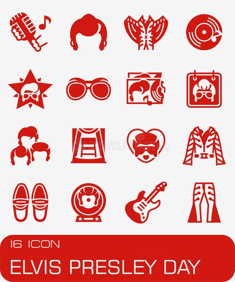 Vector Elvis Presley Day icon set. On red background stock illustration