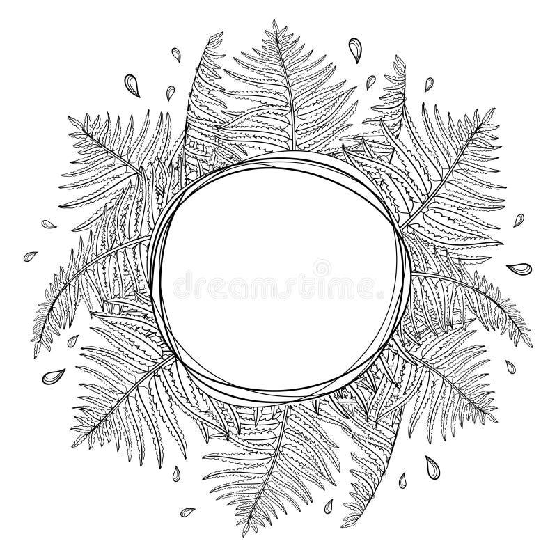 Vector em volta da composição com a samambaia fóssil da planta da floresta do esboço com as frondas no preto isoladas no fundo br ilustração royalty free