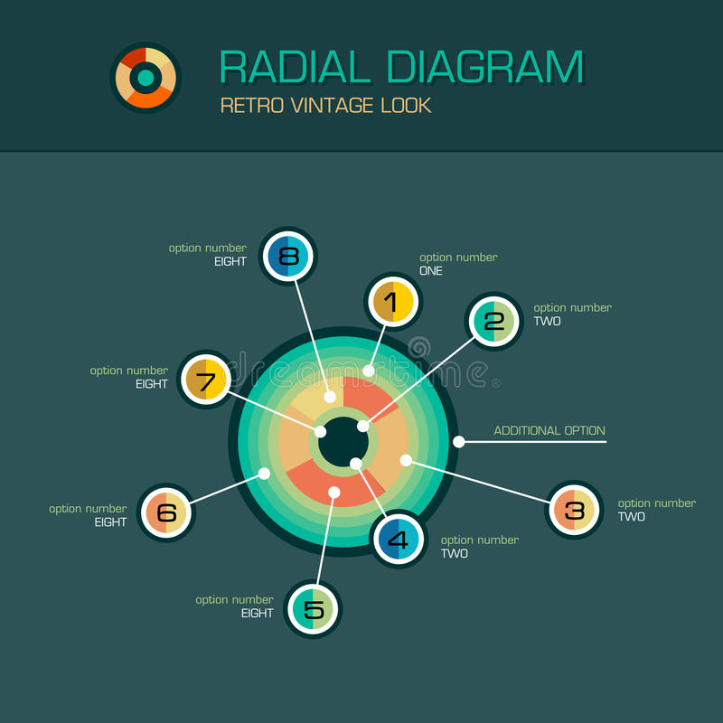 Vector em volta do diagrama radial com os ponteiros do feixe infographic ilustração stock