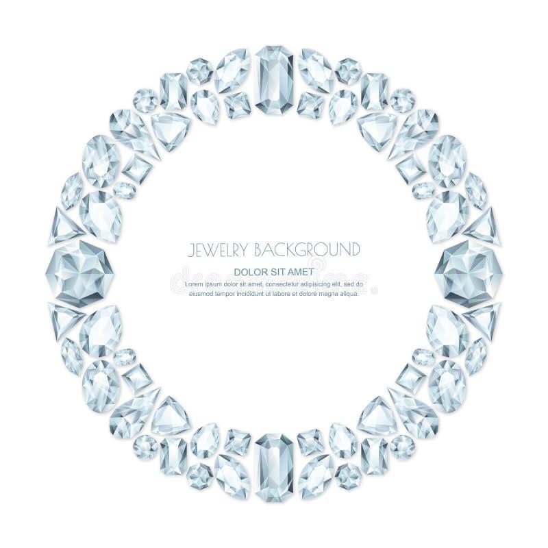 Vector em volta do quadro das gemas e das joias de prata realísticas no fundo branco Elementos brilhantes do projeto da joia dos  ilustração stock