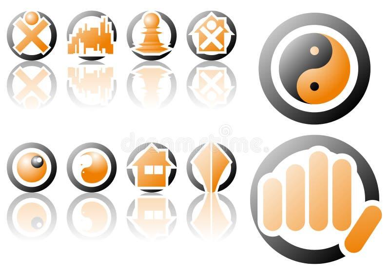 Vector embleem en ontwerpsymbolen royalty-vrije illustratie