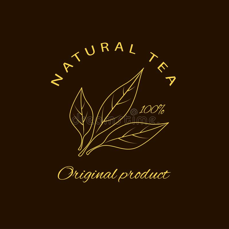 Vector emblem - beauty and cosmetics oil - tea . Logo in linear style stock illustration