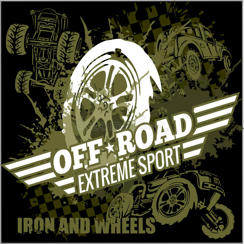 Free Vector Emblem With Off-road Cars Royalty Free Stock Image - 52790286