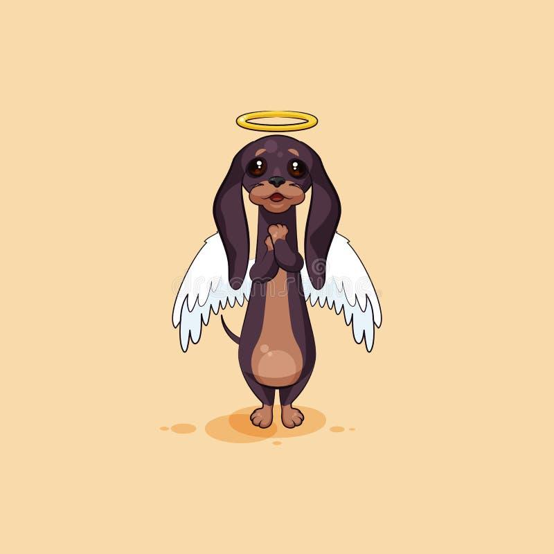 Vector emoji иллюстрации запаса талисмана собаки персонажа из мультфильма, гончей phylactery, дворняжки талисмана, таксы bowwow иллюстрация вектора