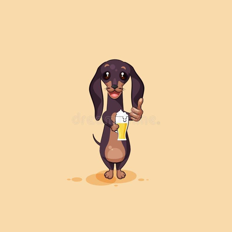 Vector emoji иллюстрации запаса талисмана собаки персонажа из мультфильма, гончей phylactery, дворняжки талисмана, таксы bowwow иллюстрация штока