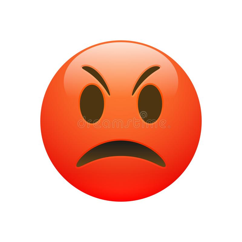 Vector Emoji red angry sad face royalty free illustration