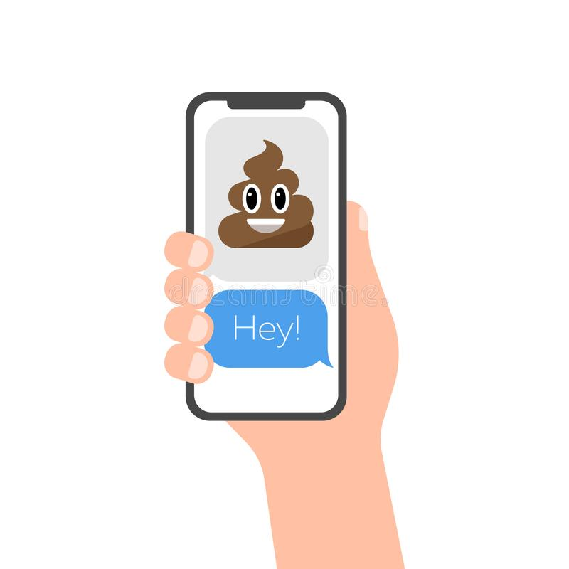 Vector emoticon poop icon on phone screen symbol illustration stock photography