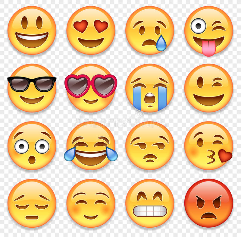 Vector emoticons collection. Set of high quality vector cartoonish emoticons