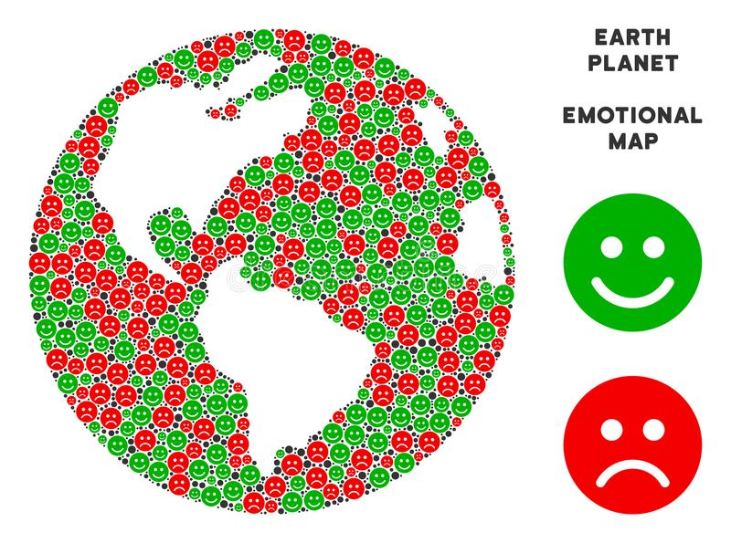 Vector Emotional Earth Globe Collage of Smileys royalty free illustration