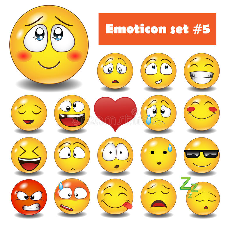 Vector emotional face icons stock photo