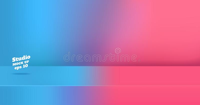 Vector,Empty blue gredient to vivid pink color 3d studio table room background ,product display with copy space for display of stock illustration