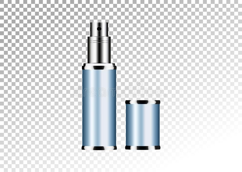 Vector empty blue package for cosmetic products tube and perfume flacon, bottle for deodorant, hair spray. Realistic mockup of met. Vector empty blue package for vector illustration