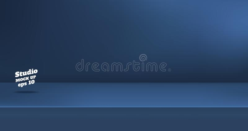 Vector,Empty dull navy blue color studio table room background ,product display with copy space for display of content design. royalty free illustration