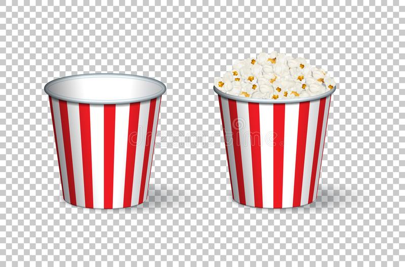 Vector empty and full popcorn buckets on transparent background. royalty free illustration