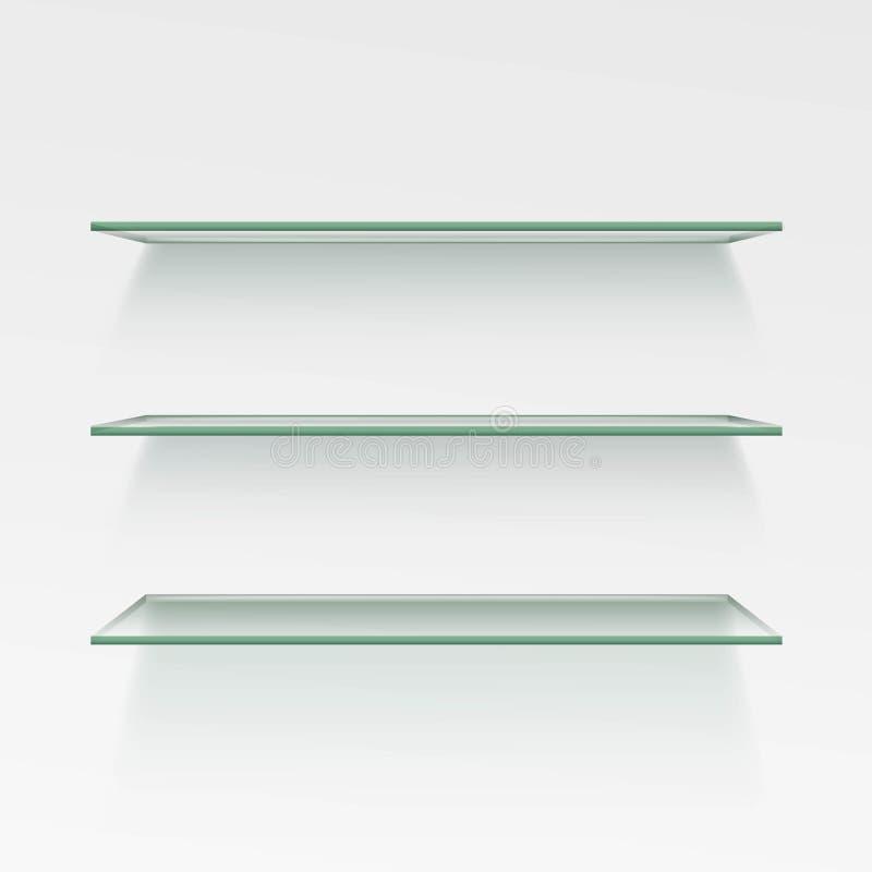Vector Empty Glass Shelf Shelves on Wall Background. Empty Glass Shelf Shelves on Wall Background vector illustration