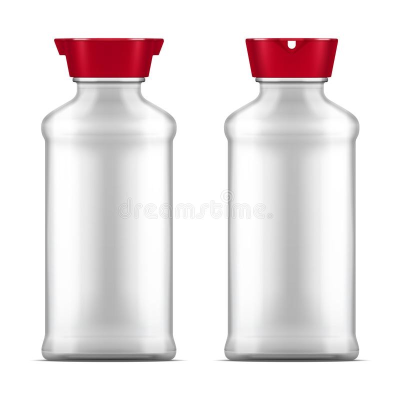 Vector empty glass soy sauce bottle isolated on white background stock illustration