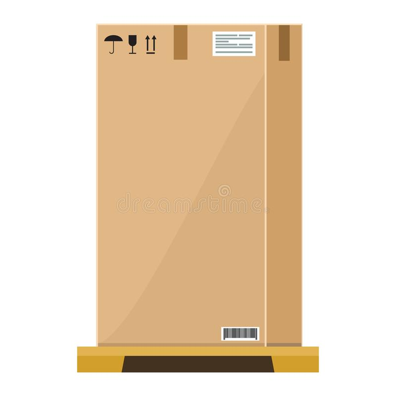 Free Vector Empty High Cardboard Box On Wooden Pallet With Flat And Solid Color Style Design. Stock Photos - 110551253
