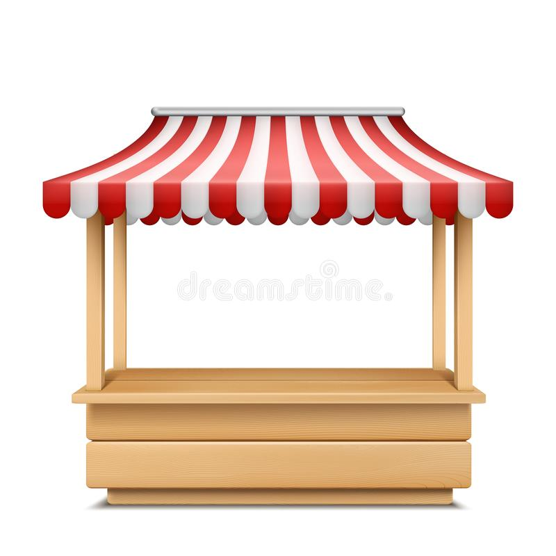 Vector empty market stall with striped awning vector illustration
