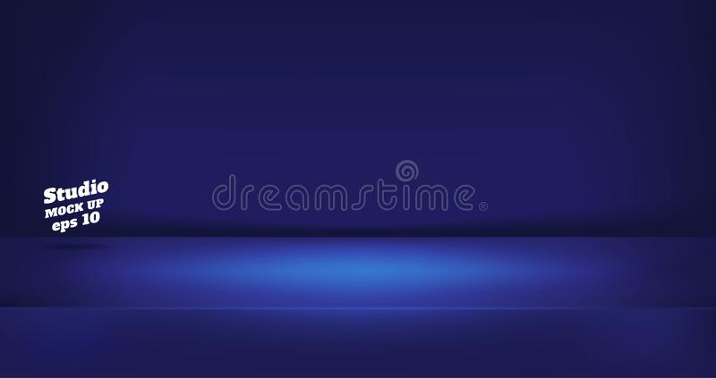 Vector,Empty neon style dark blue color studio table room background ,product display with copy space for display of content stock illustration