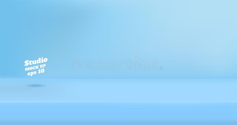 Vector Empty pastel blue color studio table room background ,product display with copy space for display of content royalty free illustration
