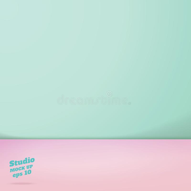Vector of Empty pastel green and pink two tone color studio room vector illustration