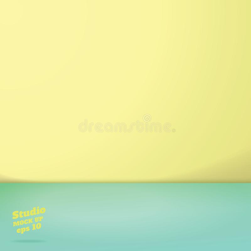 Vector of Empty pastel green and yellow two tone color studio room background ,Template mock up for display vector illustration