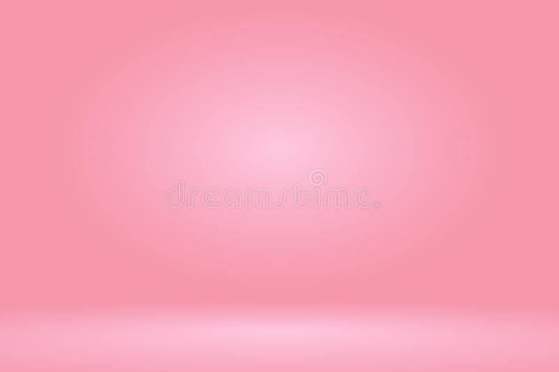 Vector :Empty pastel peach studio room background ,Template mock up for display of product,Business backdrop stock illustration