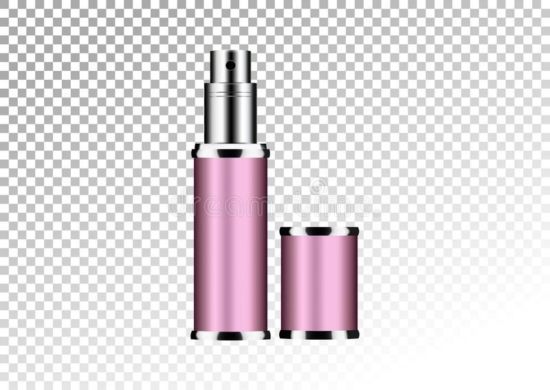 Vector empty pink package for cosmetic products tube and perfume flacon, bottle for deodorant, hair spray. Realistic mockup of met. Vector empty pink package for stock illustration
