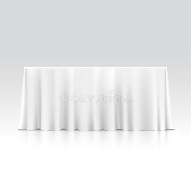 Vector Empty Rectangular Table with Tablecloth vector illustration