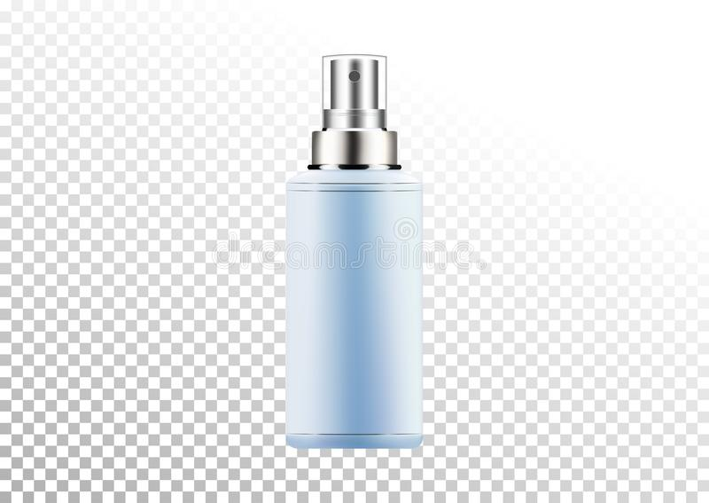 Vector empty silver and blue package for cosmetic products with batcher, tube for lotion, shower gel, shampoo, cream. Realistic mo. Vector empty silver and blue stock illustration