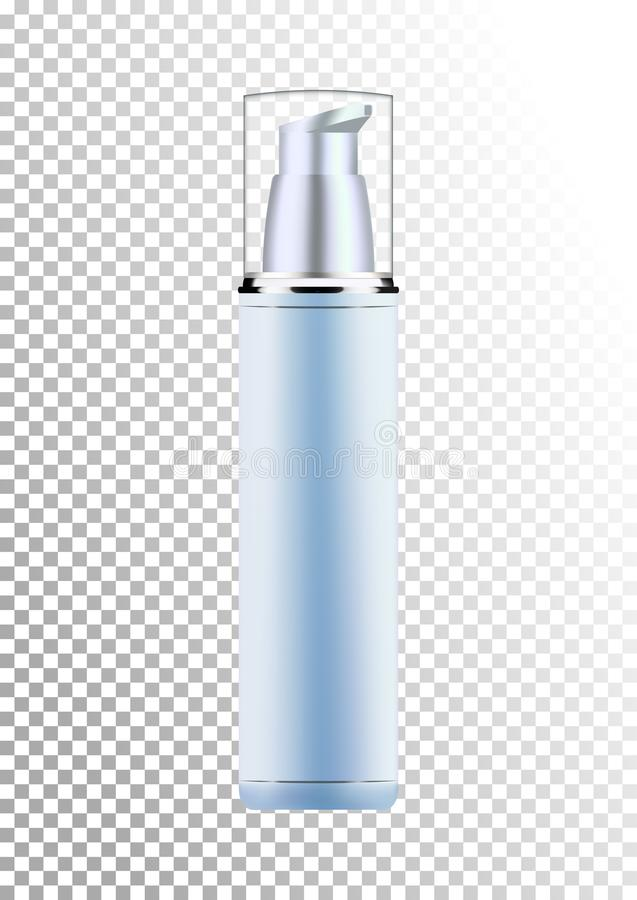 Vector empty silver and blue package for cosmetic products with pump, tube for lotion, tonic, cream. Realistic mockup of. Vector empty silver and blue package stock illustration