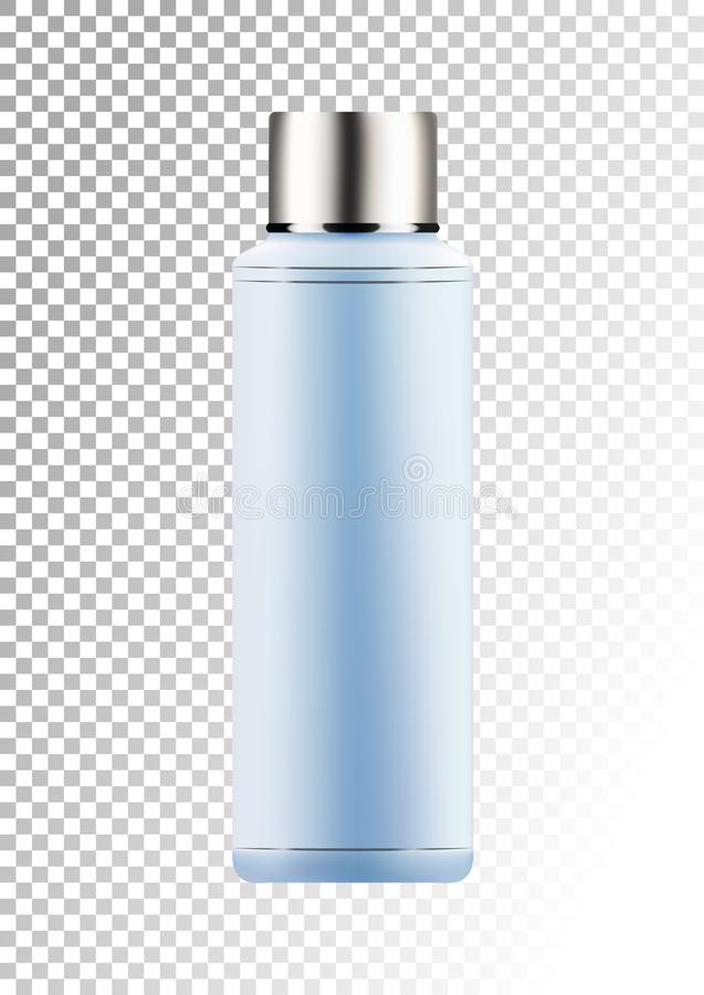 Vector empty silver and blue package for cosmetic products tube and bottle for lotion, shower gel, shampoo, hair balm. Realistic plastic container. Mock up royalty free illustration
