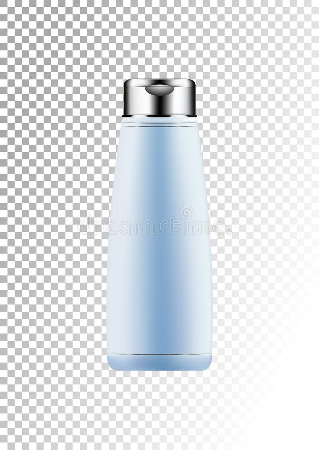 Vector empty silver and blue package for cosmetic products tube and bottle for lotion, shower gel, shampoo, hair balm. Realistic plastic container. Mock up vector illustration